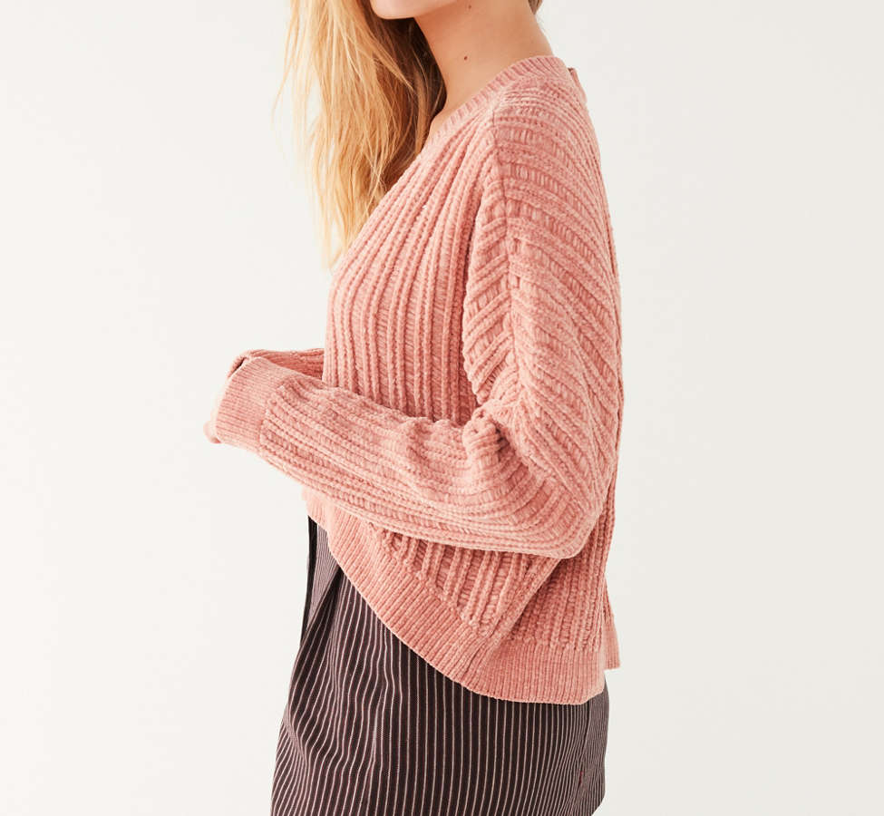 Slide View: 6: Silence + Noise Slouchy Chenille High/Low V-Neck Sweater