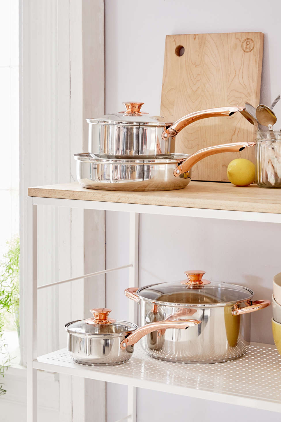 Slide View: 1: 4-Piece Copper-Trimmed Cookware Set