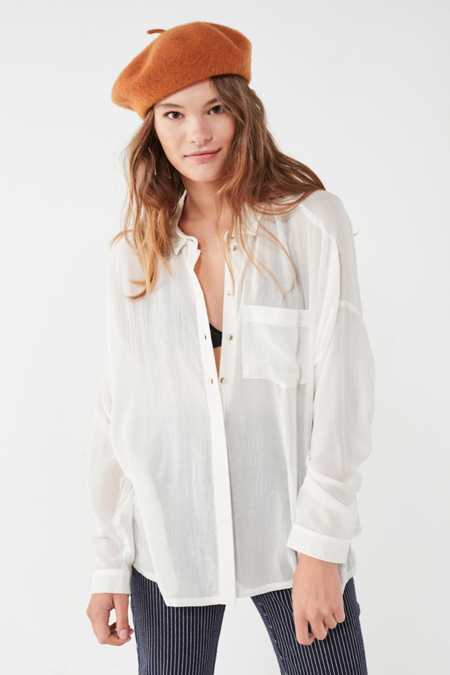BDG Striped Twill Button-Down Shirt