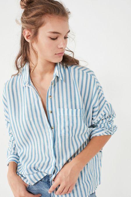 fa7feadd9aa36 BDG Striped Twill Button-Down Shirt