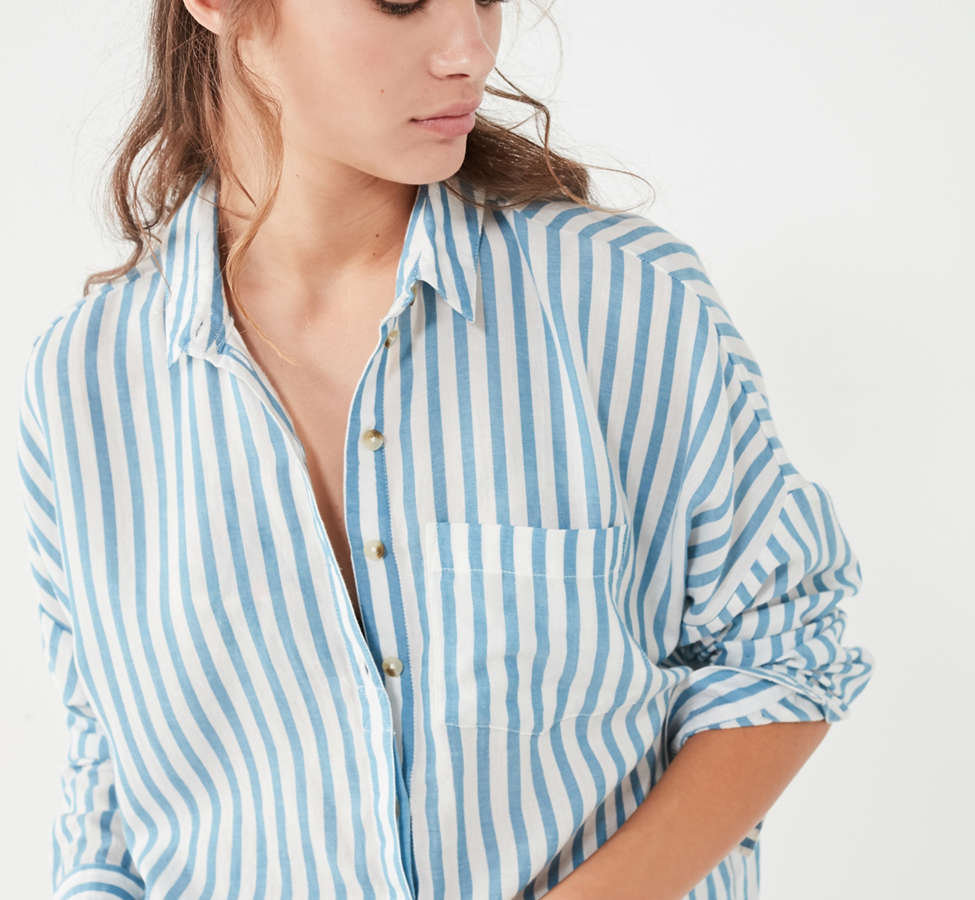Slide View: 1: BDG Striped Twill Button-Down Shirt