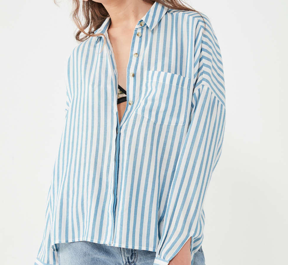 Slide View: 4: BDG Striped Twill Button-Down Shirt