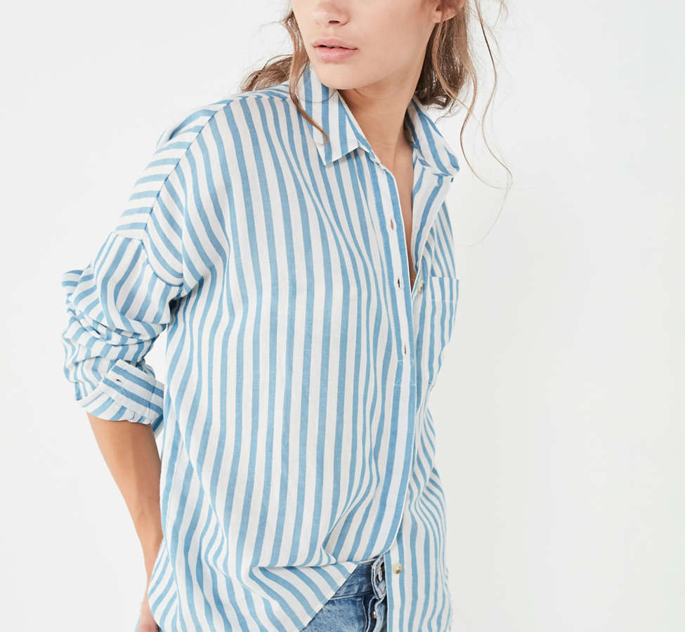 Slide View: 5: BDG Striped Twill Button-Down Shirt
