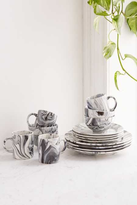 16-Piece Marble Glaze Dinnerware Set