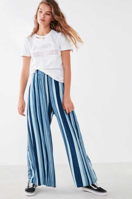 Ecote Gauzy Striped Wide-Leg Pant