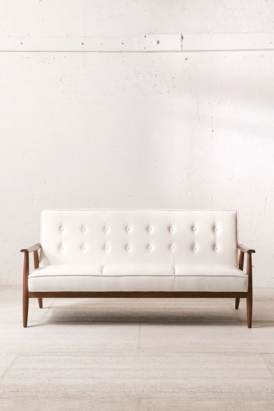 Wyatt Faux Leather Sofa Urban Outfitters