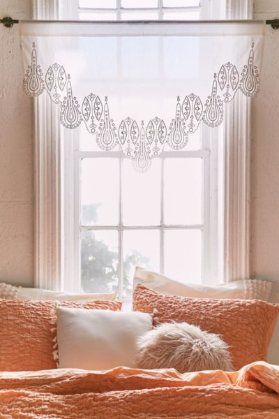 Elodie Eyelet Window Valance - White One Size at Urban Outfitters