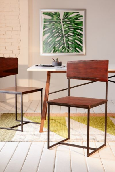 Live Edge Wood Dining Chair Set - Brown One Size at Urban Outfitters