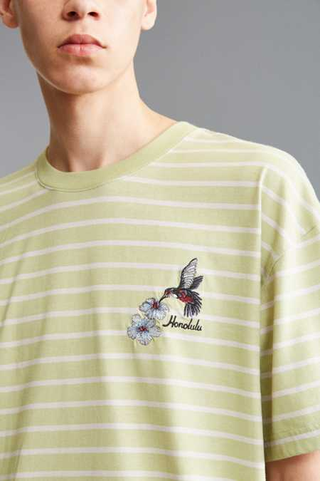 UO Embroidered Stripe Dad Tee