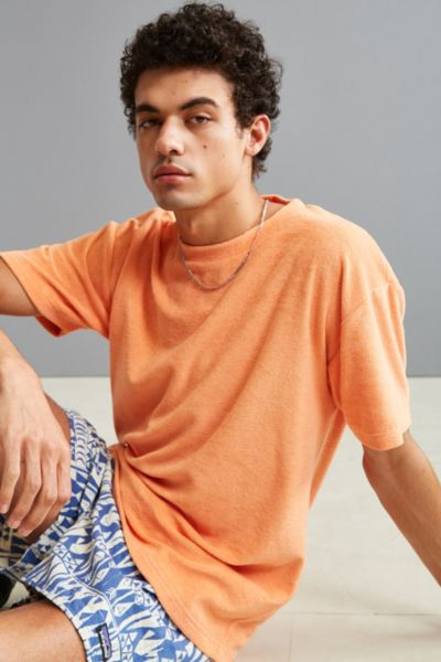 UO Wray Toweling Tee - Coral XL at Urban Outfitters