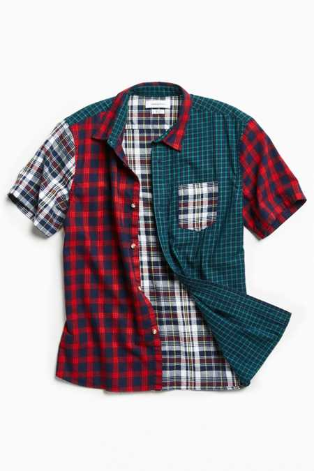 UO Blocked Tartan Plaid Short Sleeve Button-Down Shirt