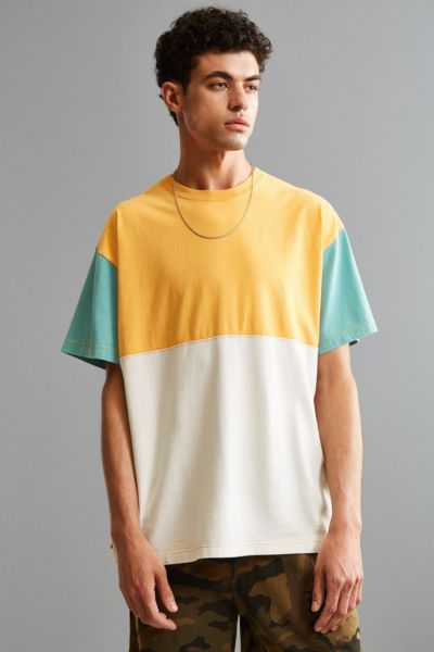 UO Colorblocked Dad Tee - Medium Orange S at Urban Outfitters