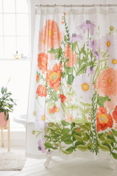 Marina Floral Shower Curtain - Coral One Size at Urban Outfitters