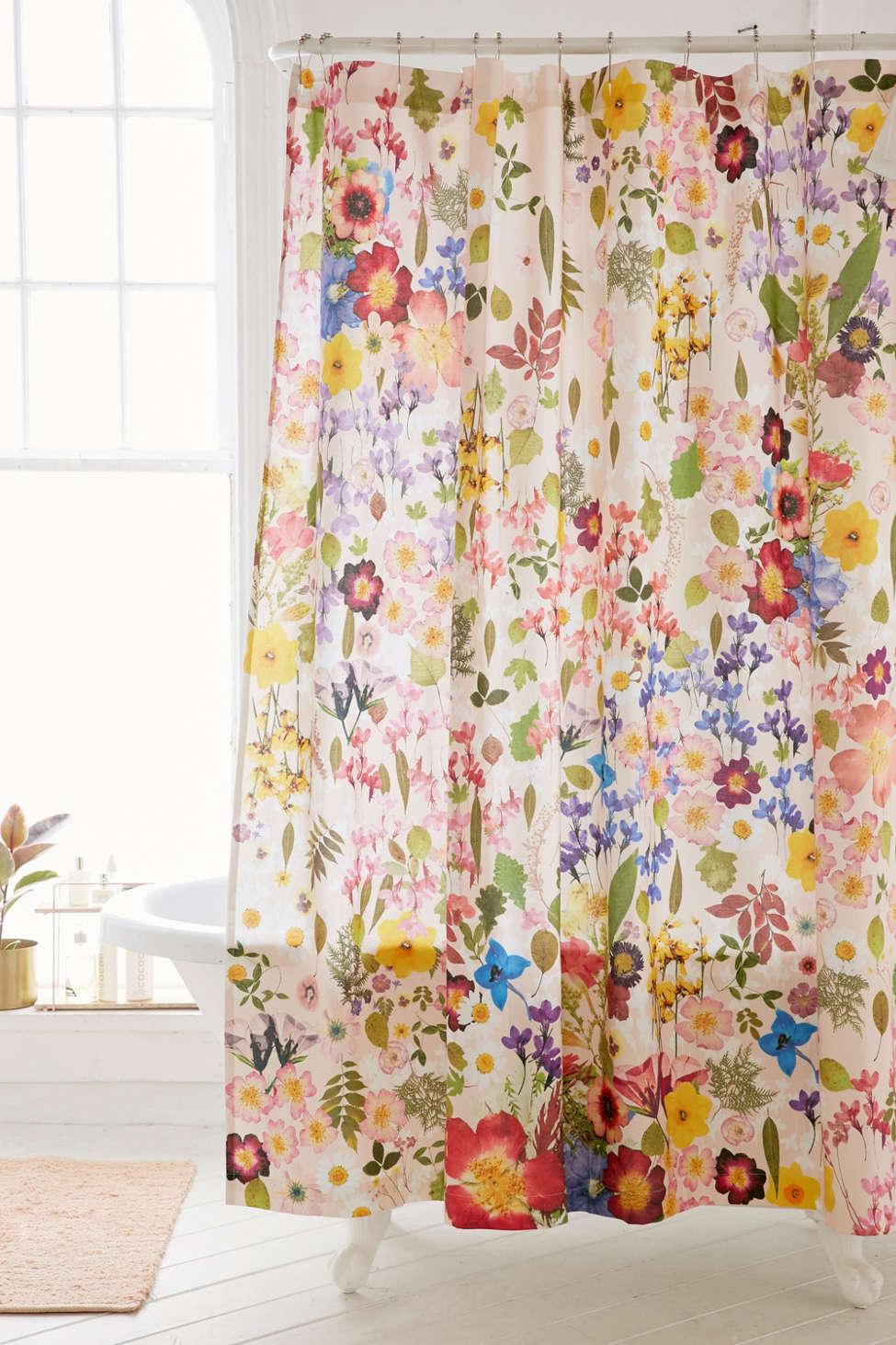 Slide View: 1: Pressed Flower Shower Curtain