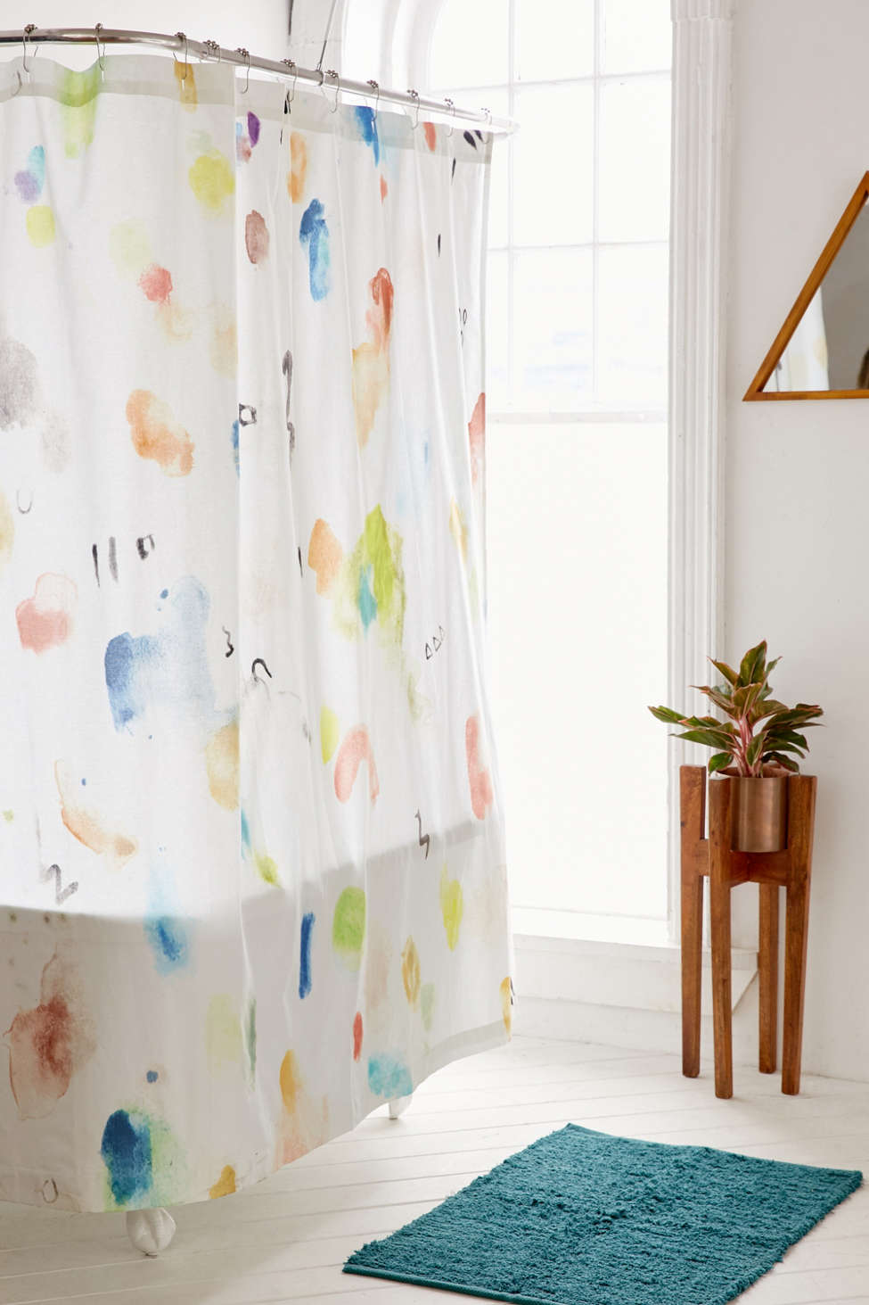 Slide View: 1: Painterly Marks Shower Curtain
