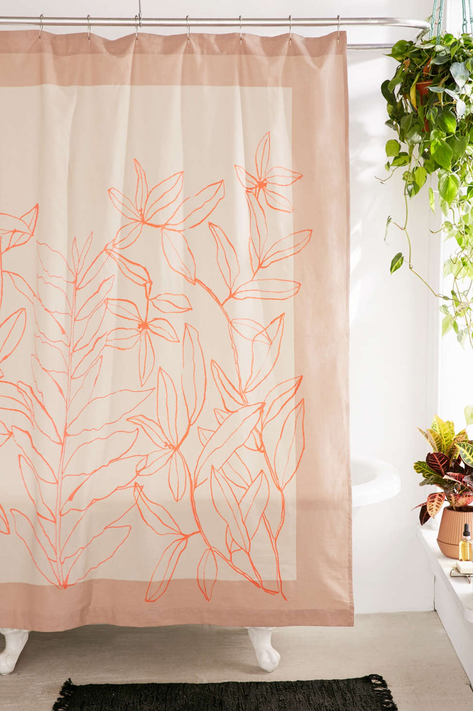 Slide View: 1: Lulu Sketched Floral Shower Curtain