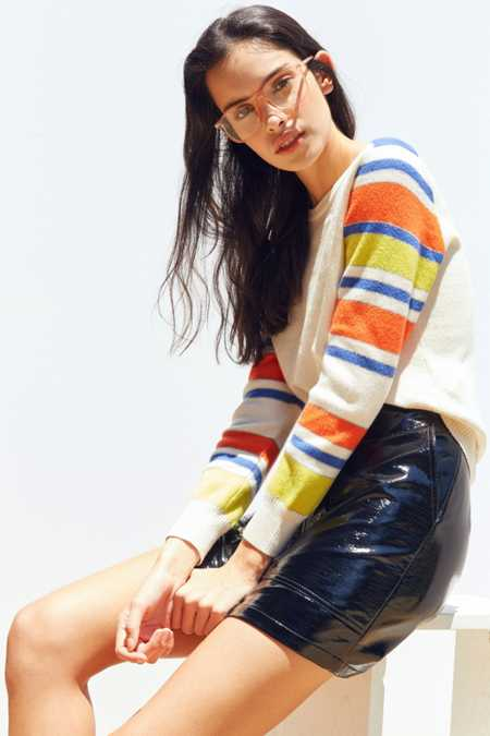 Silence + Noise Striped Sleeve Sweater