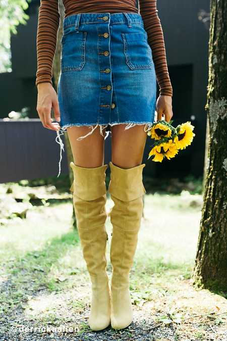 BDG Button-Front Denim Mini Skirt