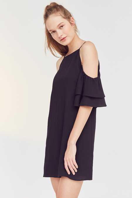Cooperative Ruffle Cold-Shoulder Linen Dress