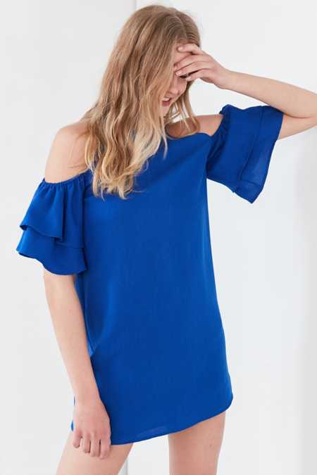 Cooperative Ruffled Cold-Shoulder Linen Mini Dress