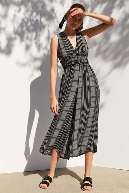 Ecote Plunging Striped Culotte Jumpsuit