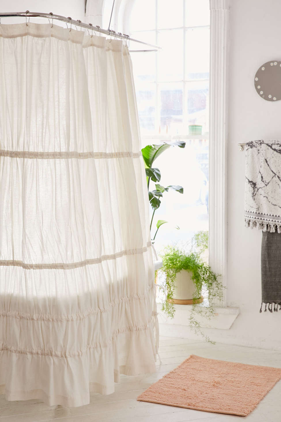 Slide View: 1: Rayna Tiered Ruffle Tie-Side Shower Curtain