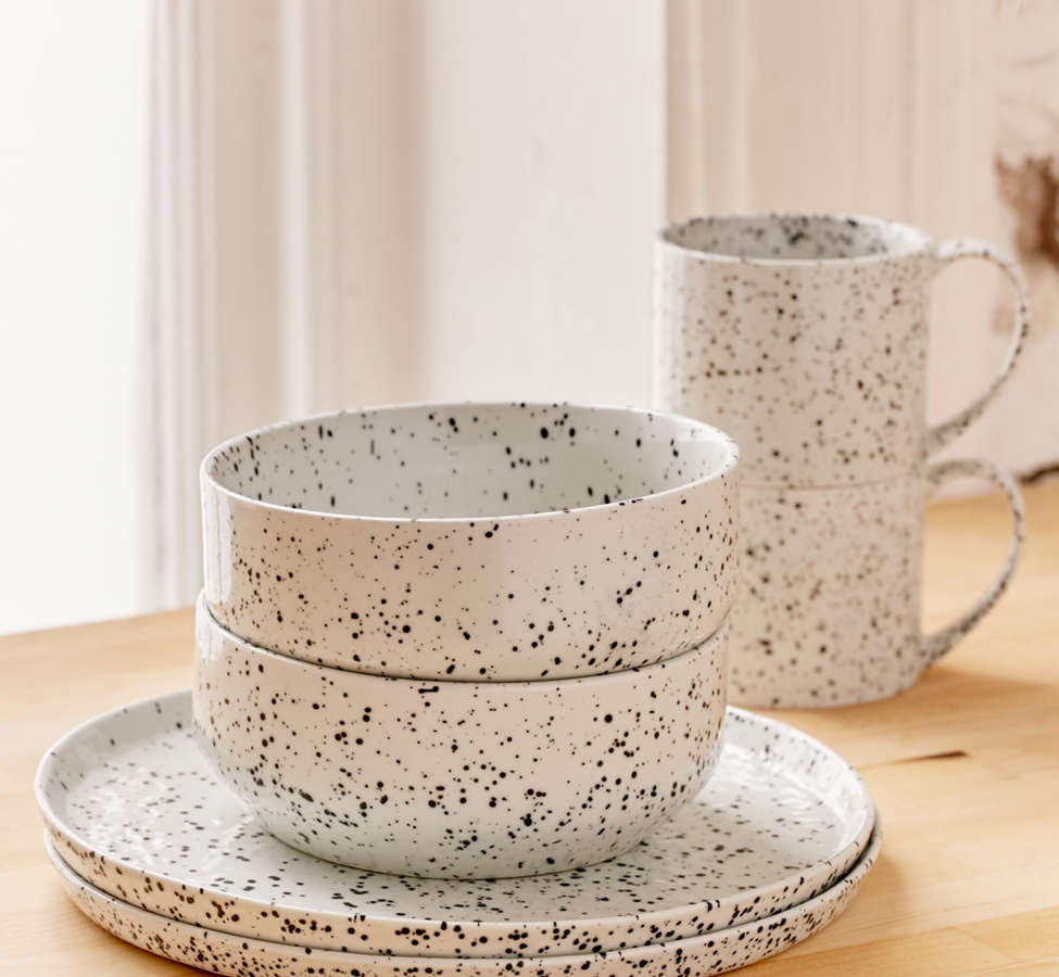 Slide View: 2: 12-Piece Speckled Dinnerware Set