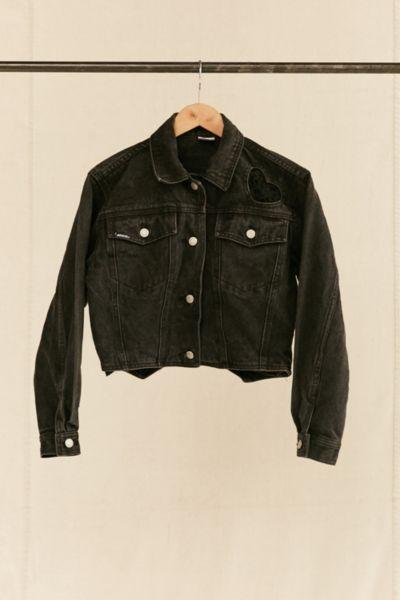 Vintage Jordache Lace Hearts Cropped Denim Jacket