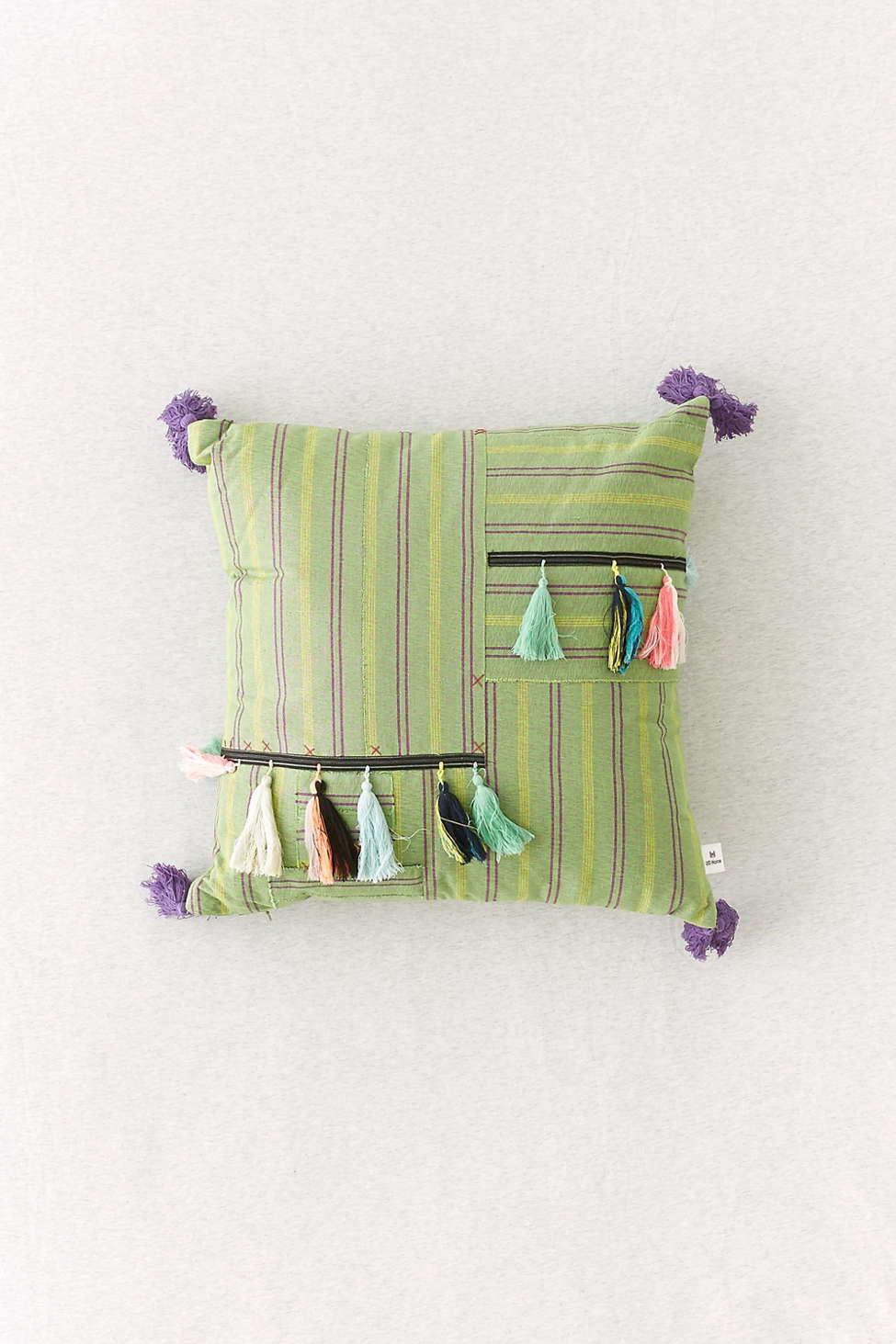 Slide View: 1: Sabri Patched Stripe Throw Pillow