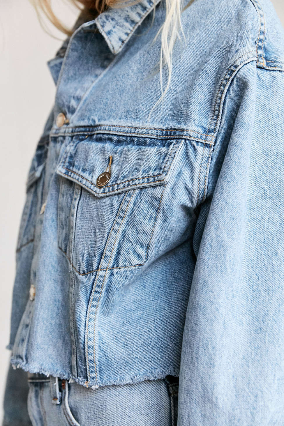 Urban Renewal Recycled Frayed Cropped Denim Jacket | Urban Outfitters