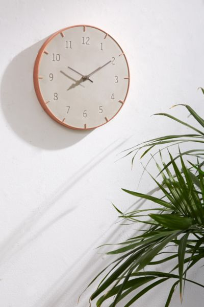 Abbi Concrete Wall Clock - Blush One Size at Urban Outfitters