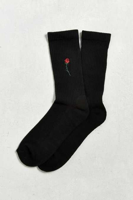 Embroidered Rose Sport Sock