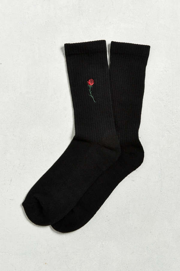 Embroidered Rose Sport Sock