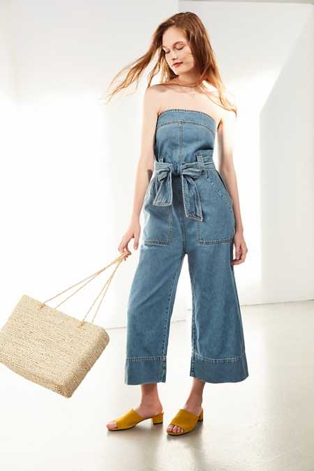 BDG Nika Strapless Denim Jumpsuit