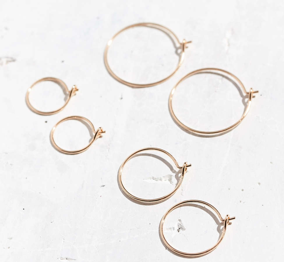Slide View: 1: Brass Wire Hoop Earring Set