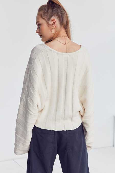 Slide View: 2: Silence + Noise Slouchy Ribbed High/Low Sweater