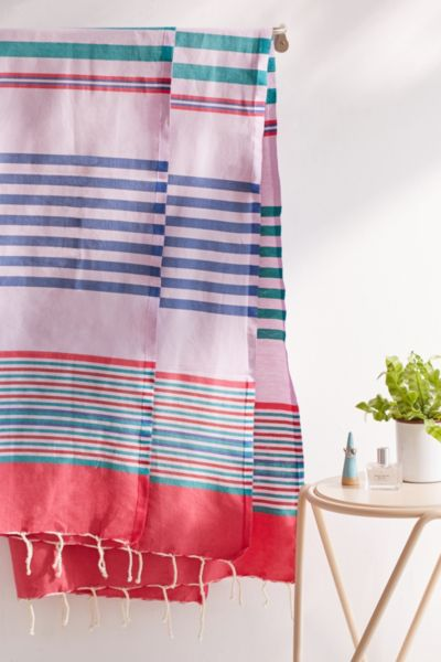 Sydney Striped Fouta Towel - Purple One Size at Urban Outfitters