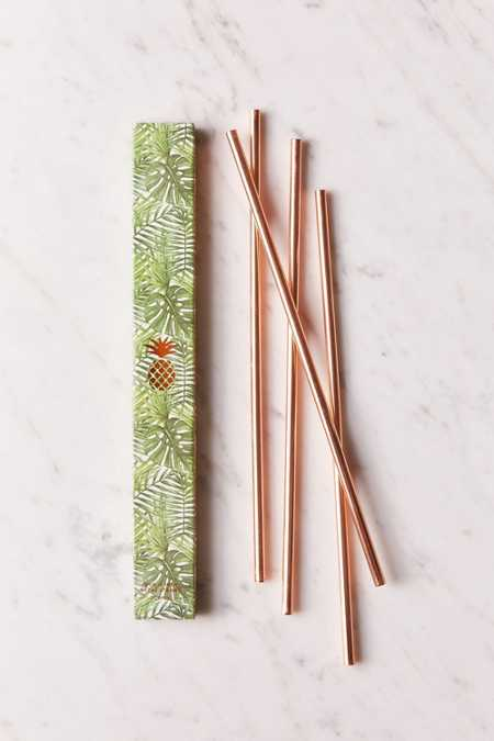 "W&P Design 10"" Metallic Straws Set"