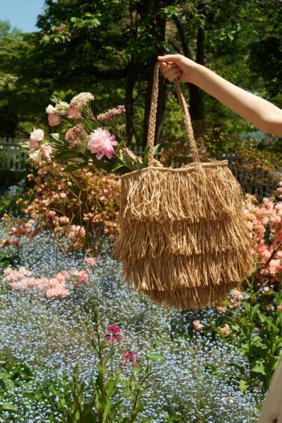Fringed Straw Tote Bag - Neutral One Size at Urban Outfitters