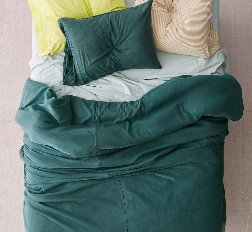 Slide View: 1: Faded Ribbed Jersey Comforter