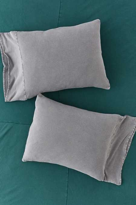 Slide View: 1: Faded Ribbed Jersey Pillowcase Set