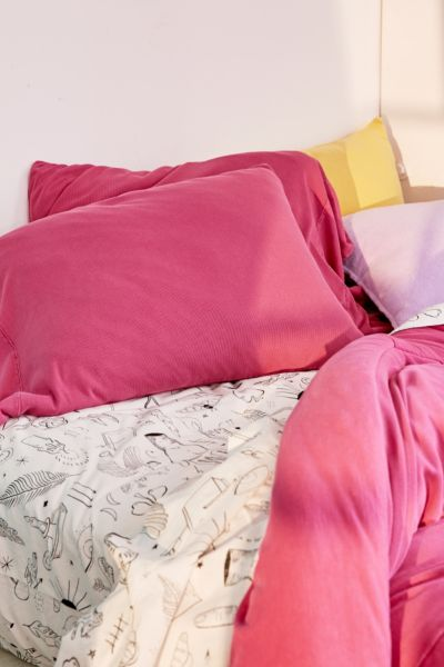 Faded Ribbed Jersey Pillowcase Set - Berry One Size at Urban Outfitters
