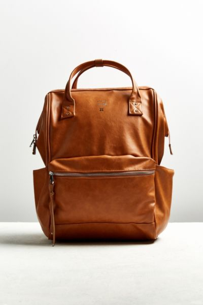 anello Faux Leather Square Backpack - Brown One Size at Urban Outfitters