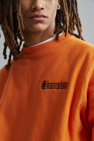Champion Reverse Weave Fleece Crew Neck Sweatshirt - Orange S at Urban Outfitters