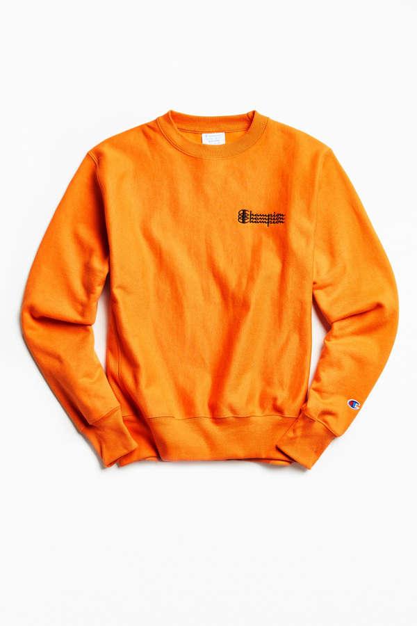 Champion Reverse Weave Fleece Crew Neck Sweatshirt   Urban Outfitters