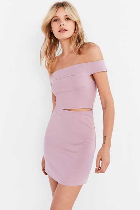 Silence + Noise Off-The-Shoulder Slashed Ponte Dress