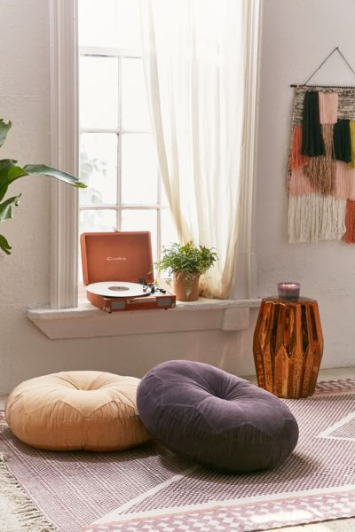 Moroccan Corduroy Pillow Pouf - Charcoal One Size at Urban Outfitters