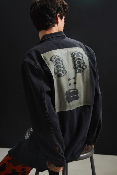 UO Graphic Patches Denim Over Shirt - Black S at Urban Outfitters