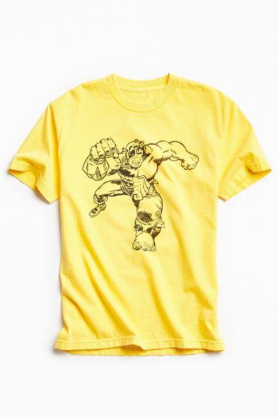Kostas Seremetis X Marvel Hulk Split Tee - Bright Yellow S at Urban Outfitters