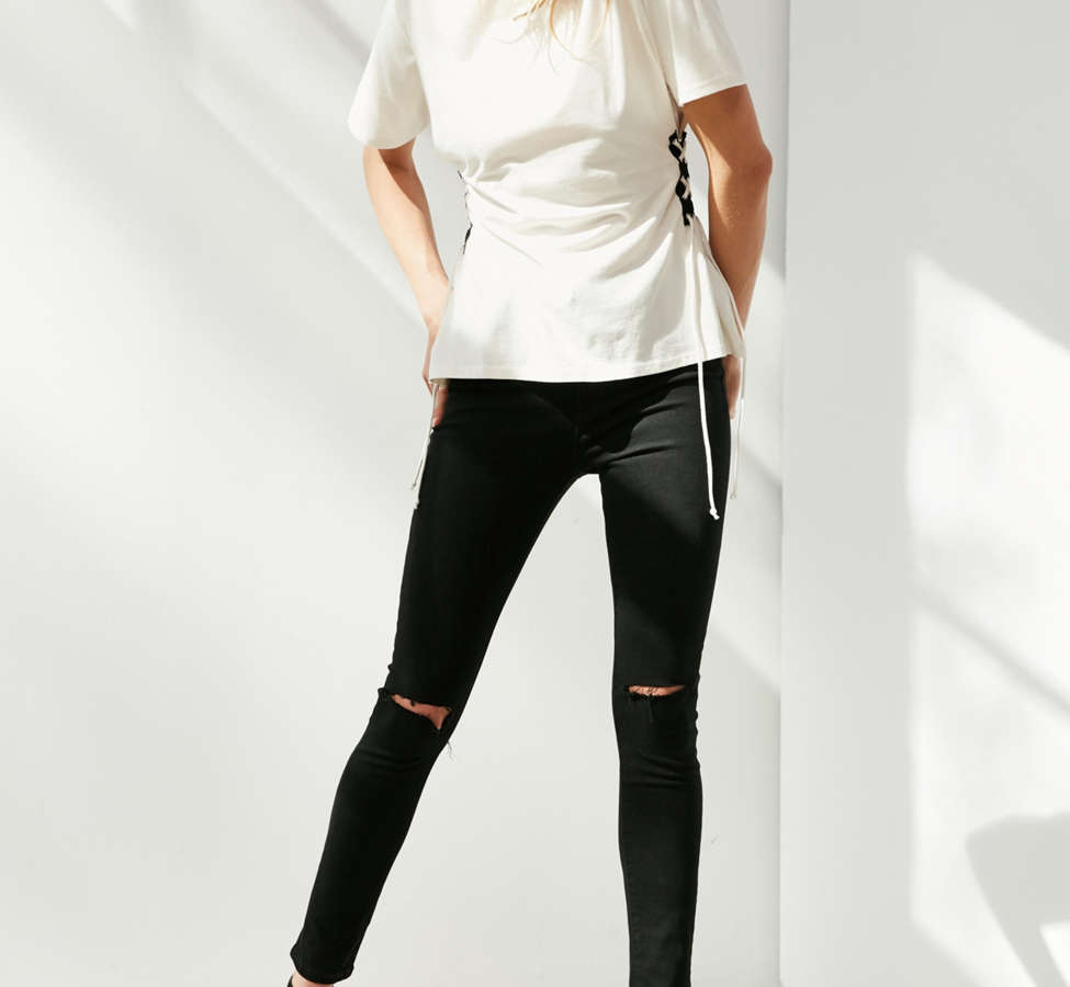 Slide View: 3: Silence + Noise Lace-Up Side Corset Tee